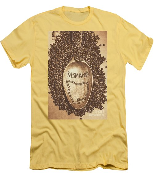 Men's T-Shirt (Athletic Fit) featuring the photograph Tasmania Coffee Beans by Jorgo Photography - Wall Art Gallery
