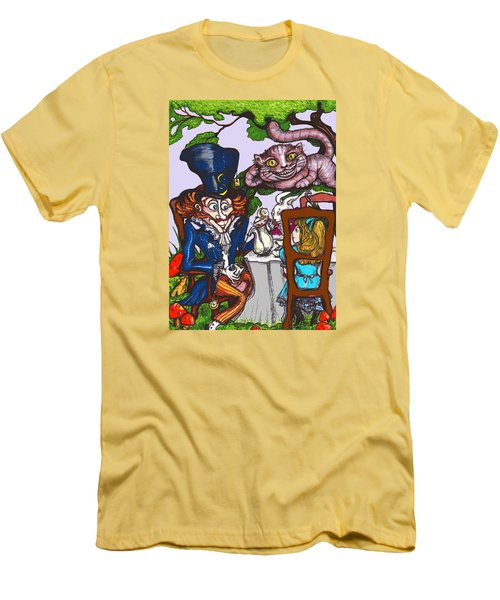 Men's T-Shirt (Slim Fit) featuring the drawing Tea Party by Rae Chichilnitsky