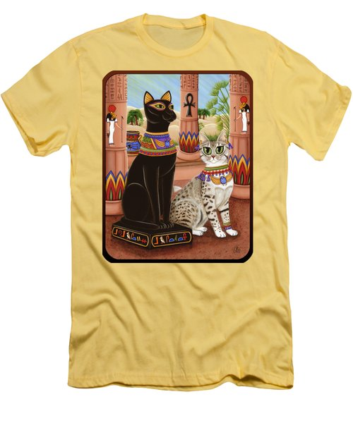Temple Of Bastet - Bast Goddess Cat Men's T-Shirt (Slim Fit) by Carrie Hawks