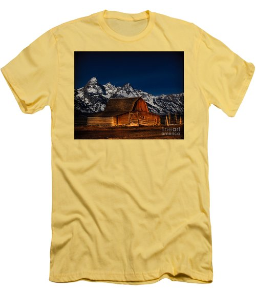Teton Mountains With Barn Men's T-Shirt (Athletic Fit)