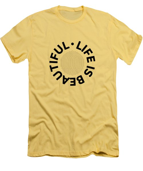 Text Art Life Is Beautiful - Carpe Diem Men's T-Shirt (Slim Fit) by Melanie Viola