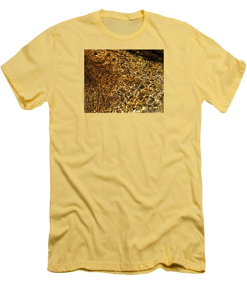 Men's T-Shirt (Slim Fit) featuring the photograph Texture Of A Stream by Lynda Lehmann