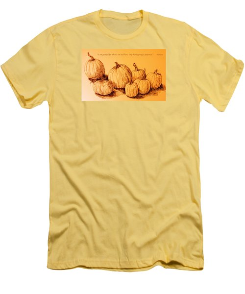 Thanksgiving Pumpkins Men's T-Shirt (Slim Fit) by Deborah Dendler