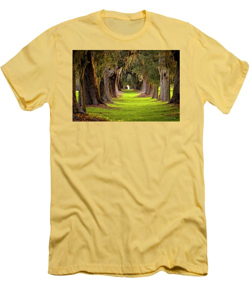 Men's T-Shirt (Athletic Fit) featuring the photograph The Avenue Of Oaks 4 St Simons Island Ga Art by Reid Callaway
