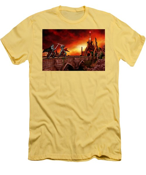 Men's T-Shirt (Slim Fit) featuring the painting The Battle For The Crystal Castle by James Christopher Hill
