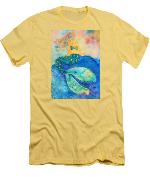 The Contemplation Of A Mermaid Men's T-Shirt (Slim Fit) by Ann Michelle Swadener