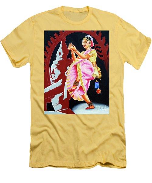 Men's T-Shirt (Slim Fit) featuring the painting The Divine Dance Of Bharatanatyam by Ragunath Venkatraman