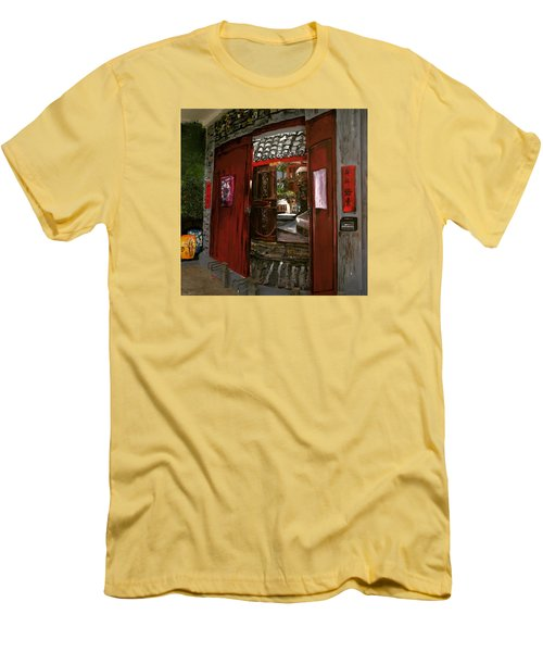 Men's T-Shirt (Slim Fit) featuring the painting The Red Door by Belinda Low