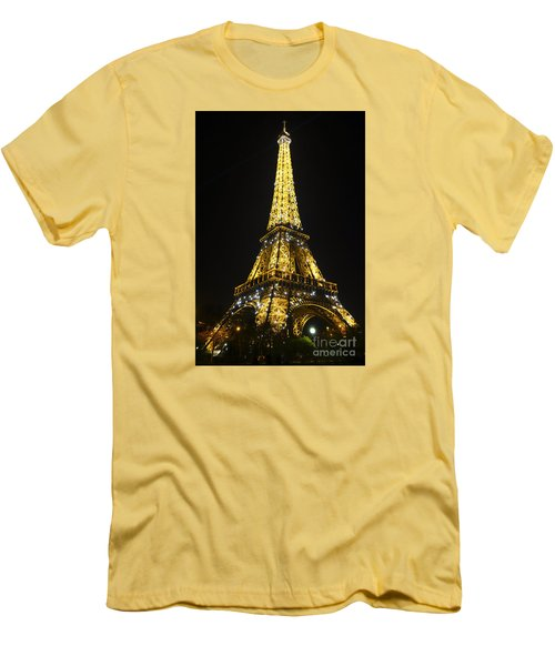 The Eiffel Tower At Night Illuminated, Paris, France. Men's T-Shirt (Slim Fit) by Perry Van Munster