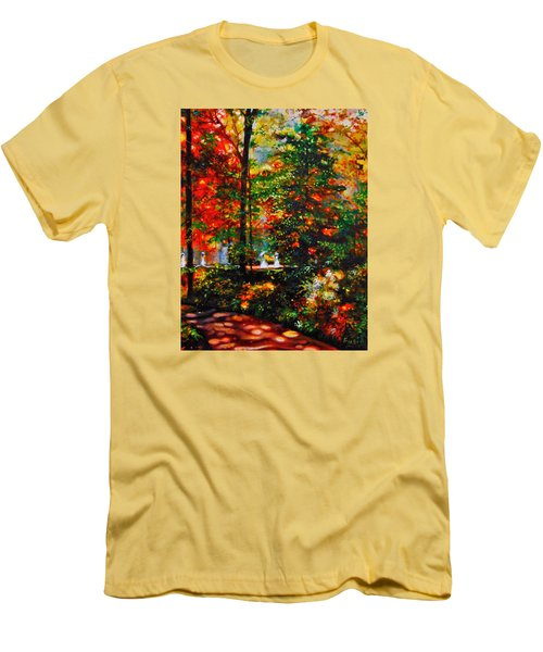 Men's T-Shirt (Slim Fit) featuring the painting The Garden by Emery Franklin