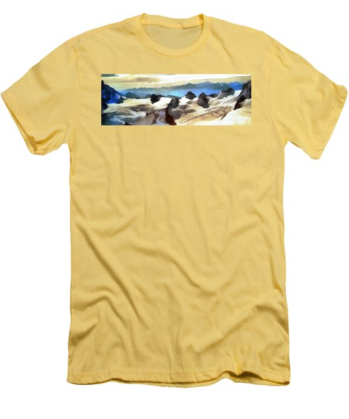 Men's T-Shirt (Slim Fit) featuring the painting The Mountain Paint by Odon Czintos