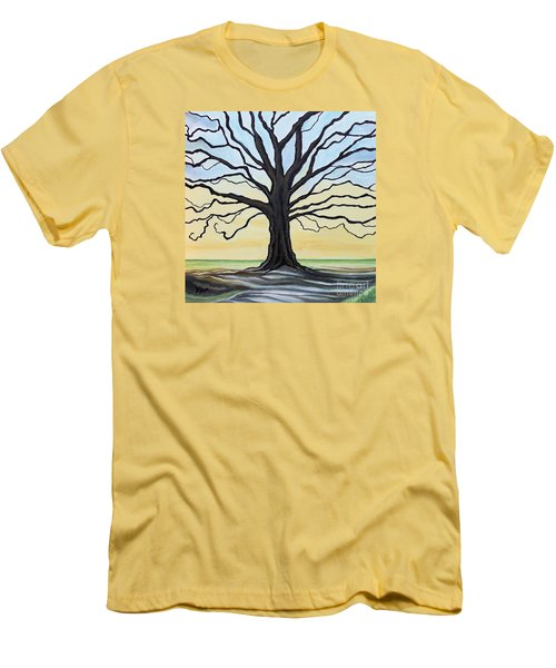 The Stained Old Oak Tree Men's T-Shirt (Slim Fit) by Elizabeth Robinette Tyndall