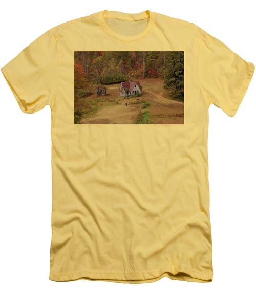 Men's T-Shirt (Slim Fit) featuring the digital art The Oldest House In North Carolina by Sharon Batdorf
