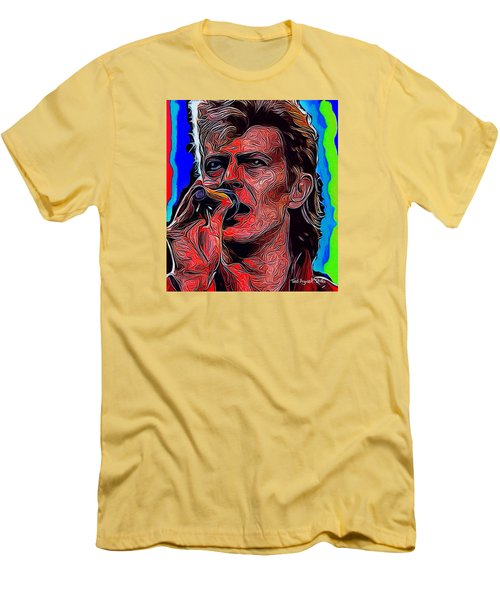 Men's T-Shirt (Slim Fit) featuring the painting The One, The Only, David Bowie by Ted Azriel