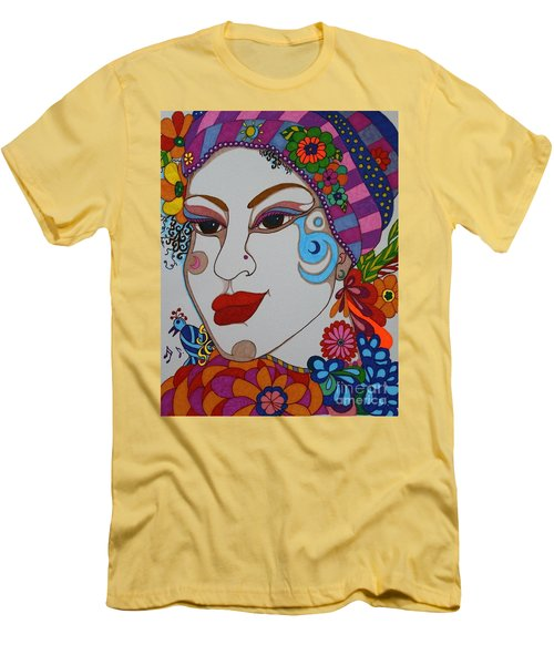 Men's T-Shirt (Slim Fit) featuring the painting The Opera Singer by Alison Caltrider