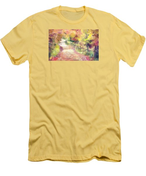 Men's T-Shirt (Slim Fit) featuring the painting The Path In Autumn by Wayne Pascall