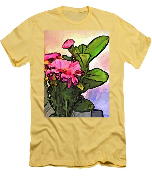 The Pink Flowers On The Left With The Green Leaves Men's T-Shirt (Athletic Fit)