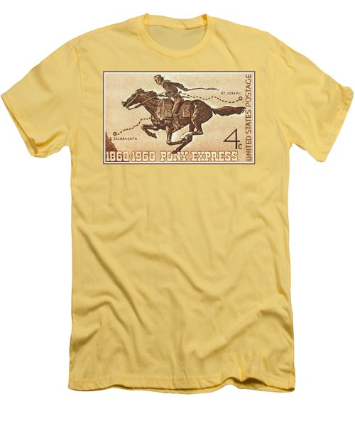 The Pony Express Centennial Stamp Men's T-Shirt (Slim Fit) by Lanjee Chee