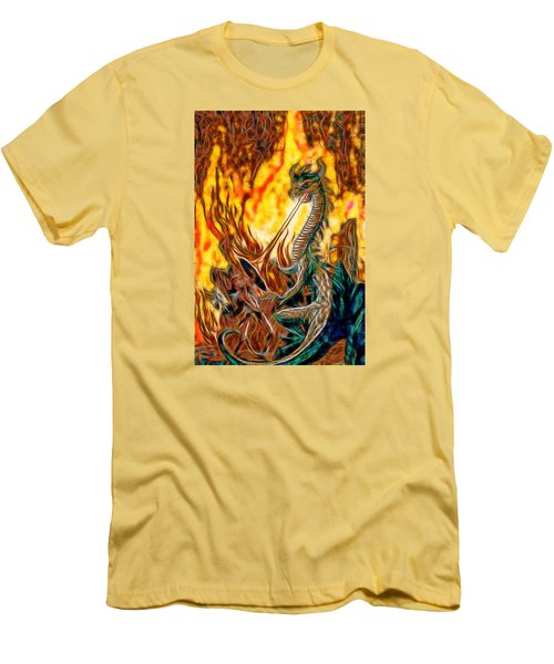 Men's T-Shirt (Slim Fit) featuring the painting The Prince Battles The Dragon by Mario Carini