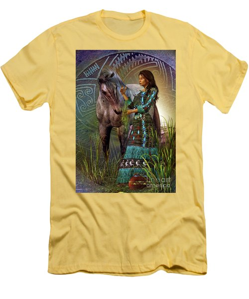 Men's T-Shirt (Slim Fit) featuring the digital art The Horse Whisperer by Shadowlea Is