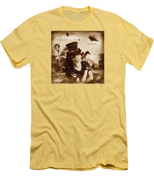 The Traveler Vintage Sepia Version Men's T-Shirt (Slim Fit) by Alessandro Della Pietra