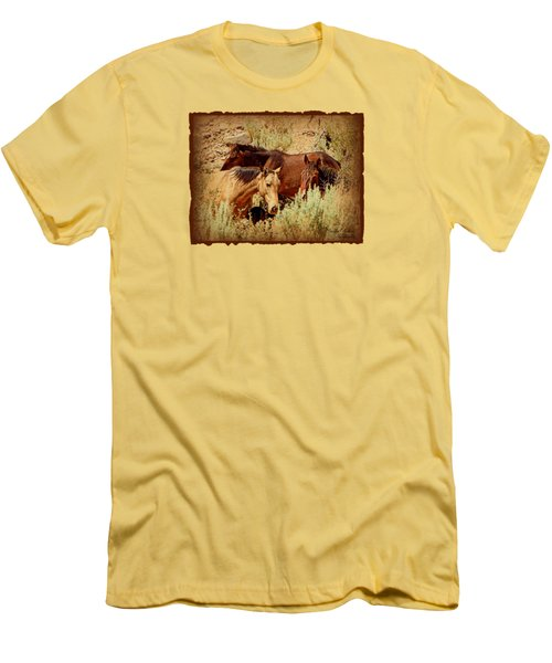 The Wild Horse Threesome Men's T-Shirt (Slim Fit) by Bobbee Rickard