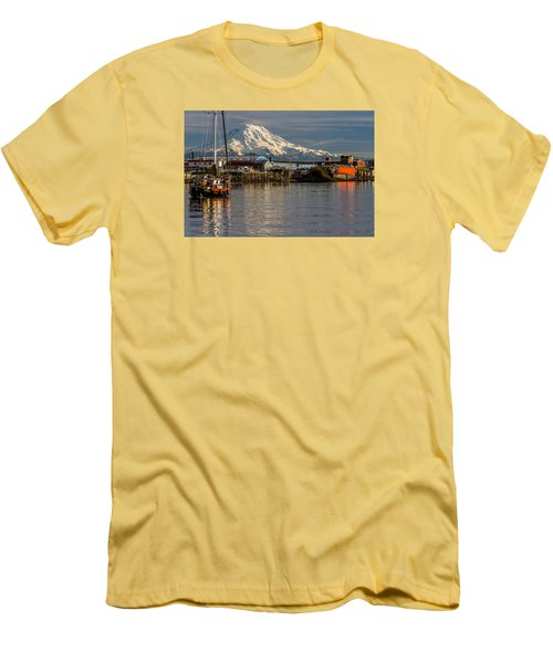 Men's T-Shirt (Slim Fit) featuring the photograph Thea Foss Waterway And Rainier 1 by Rob Green