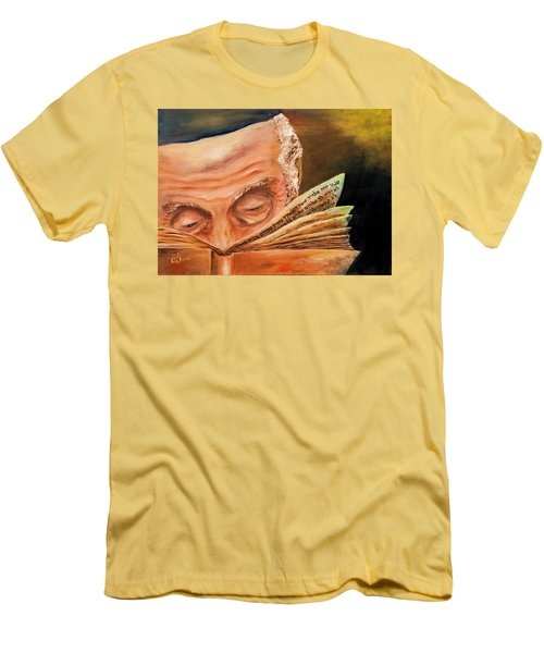 Men's T-Shirt (Slim Fit) featuring the painting This Book Of The Law Shall Not Depart Out Of Thy Mouth by Itzhak Richter