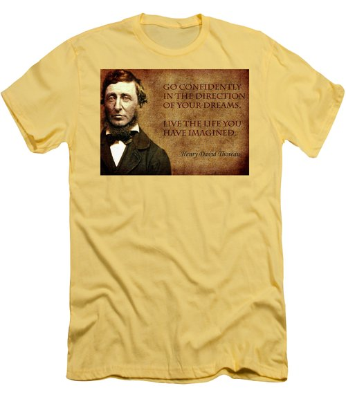 Thoreau Quote 1 Men's T-Shirt (Slim Fit) by Andrew Fare