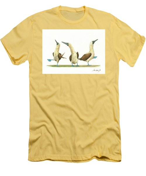 Three Blue Footed Boobies Men's T-Shirt (Slim Fit) by Juan Bosco