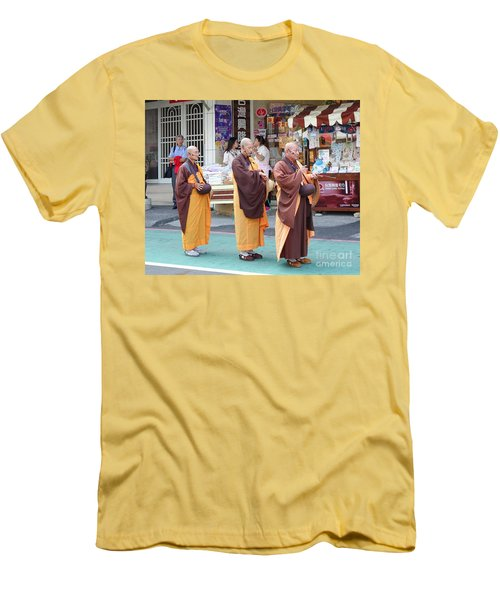 Men's T-Shirt (Slim Fit) featuring the photograph Three Buddhist Monks Chant Scriptures by Yali Shi