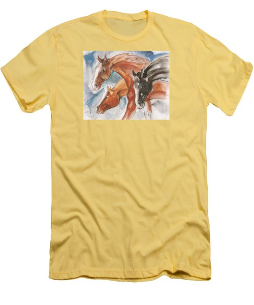 Men's T-Shirt (Slim Fit) featuring the painting Three Horses by Mary Armstrong