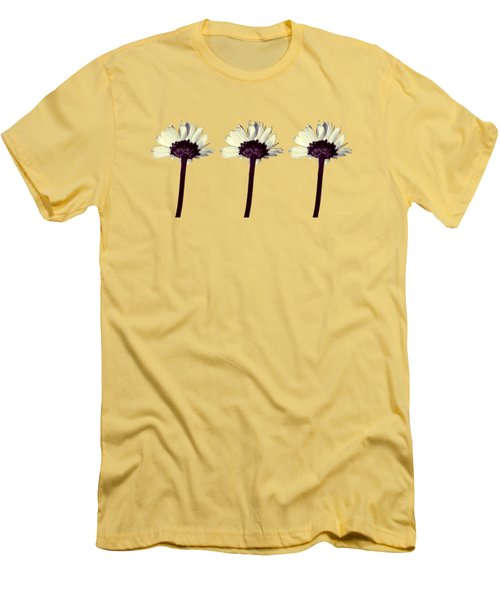 Men's T-Shirt (Slim Fit) featuring the photograph Three Little Daisies by Shawna Rowe