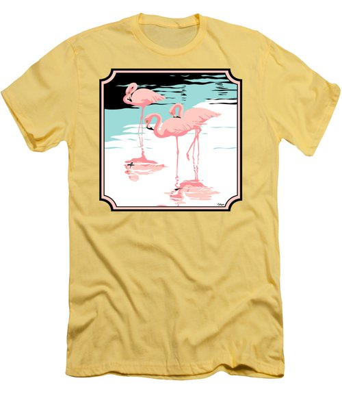 Three Pink Flamingos Tropical Landscape Abstract - Square Format Men's T-Shirt (Athletic Fit)