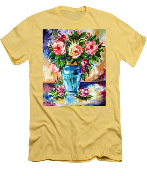 Three Roses In A Glass Vase Men's T-Shirt (Slim Fit) by Roberto Gagliardi