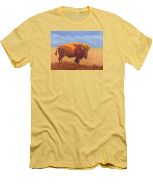 Men's T-Shirt (Slim Fit) featuring the painting Thunder On The Prairie by Nancy Jolley