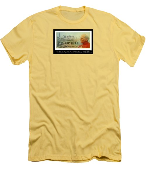 Men's T-Shirt (Slim Fit) featuring the photograph Ticket To Pope John Paul In Chicago 1979 by Sherri  Of Palm Springs