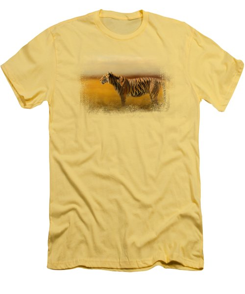 Tiger In The Golden Field Men's T-Shirt (Athletic Fit)