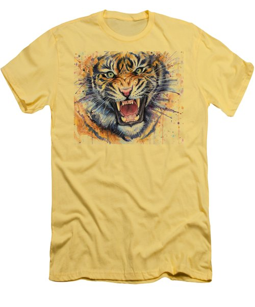 Tiger Watercolor Portrait Men's T-Shirt (Slim Fit) by Olga Shvartsur