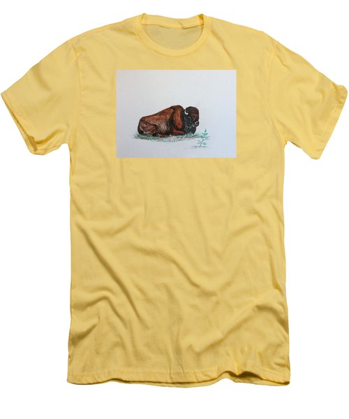 Men's T-Shirt (Slim Fit) featuring the drawing Tired Bison by Ellen Canfield
