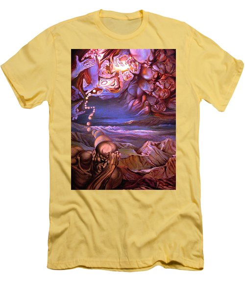 Men's T-Shirt (Slim Fit) featuring the painting Titan In Desert Or Theft Of Intentions by Mikhail Savchenko
