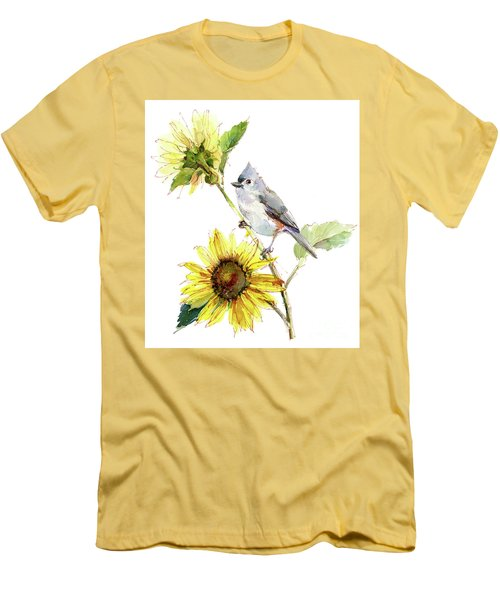 Titmouse With Sunflower Men's T-Shirt (Athletic Fit)