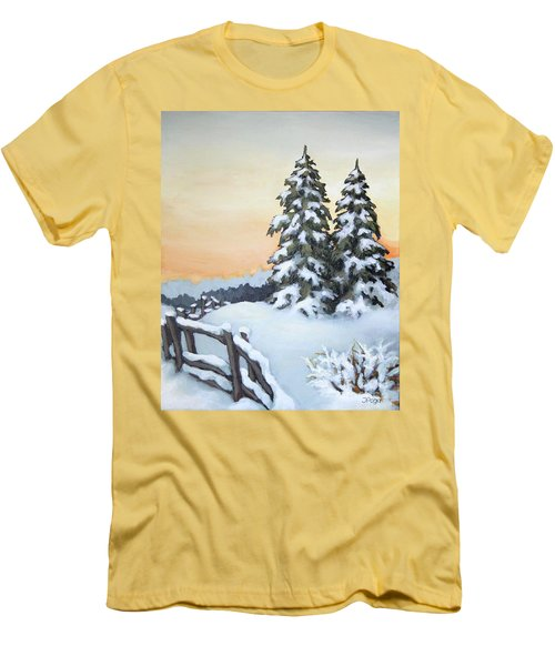 Men's T-Shirt (Slim Fit) featuring the painting Together by Inese Poga