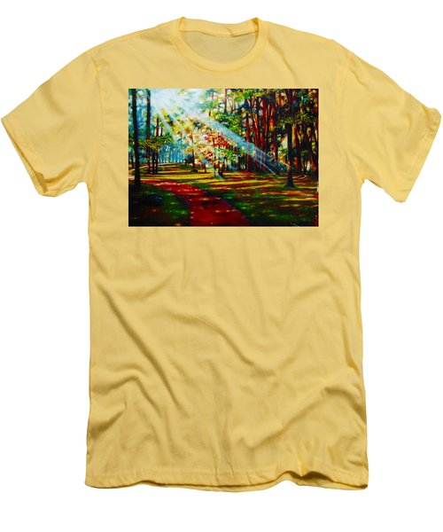 Men's T-Shirt (Slim Fit) featuring the painting Trails Of Light by Emery Franklin