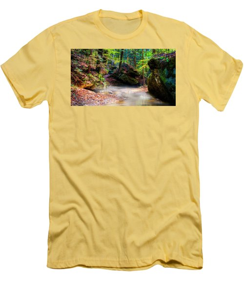 Men's T-Shirt (Slim Fit) featuring the photograph Tranquil Mist by David Morefield