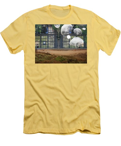 Travels With Jellyfish Men's T-Shirt (Slim Fit) by Joan Ladendorf
