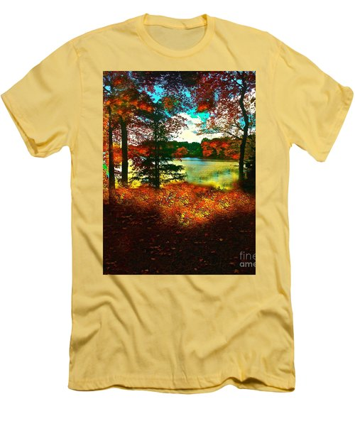 Trees And Shadows In New England Men's T-Shirt (Slim Fit) by Saundra Myles