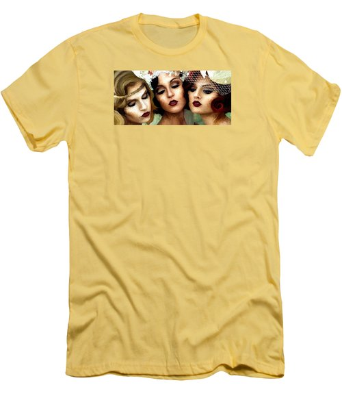 Men's T-Shirt (Slim Fit) featuring the painting Trio Of Ladies by James Shepherd