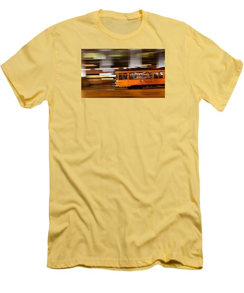 Men's T-Shirt (Slim Fit) featuring the photograph Trolley 1856 On The Move by Steve Siri