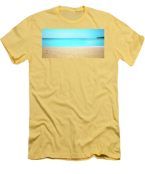 Tropical Art - Turquoise Sand Beach Lagoon Photography Men's T-Shirt (Slim Fit) by Modern Art Prints